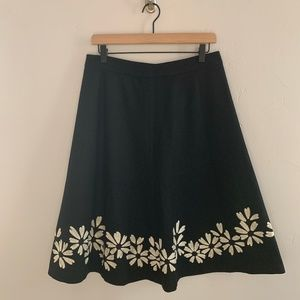 Boden Floral Embroidered Black Wool Skirt 12L